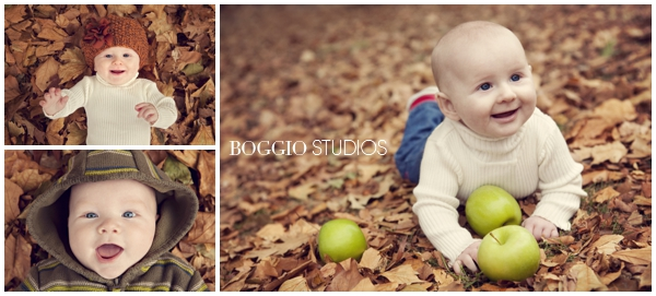 Babies in autumn leaves