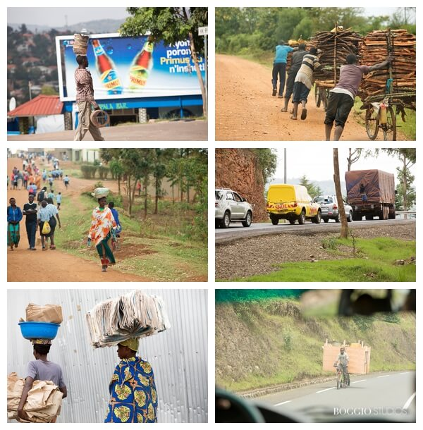 visiting Rwanda with children - People in Rwanda carrying things on heads and bikes