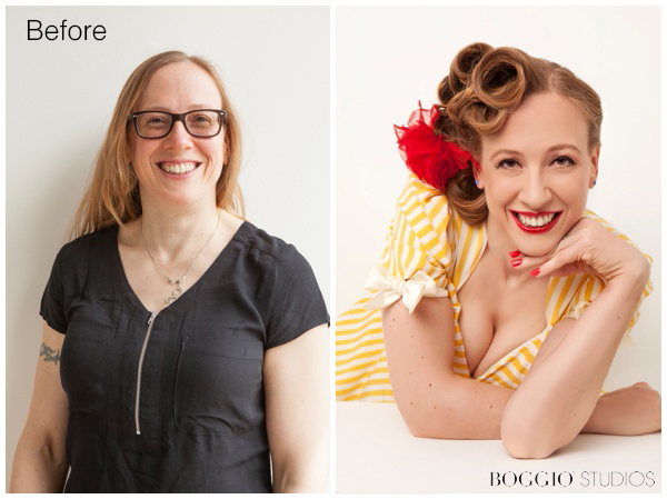 Before and After shot done at Boggio Studios. Vintage Boudoir Shoot in Wimbledon.