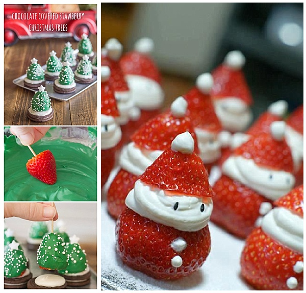 Strawberry santas and Christmas trees