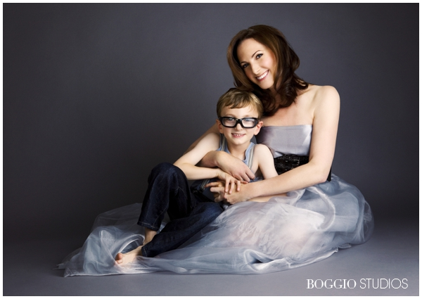 couture mum and young son cuddling