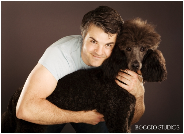 man and his poodle