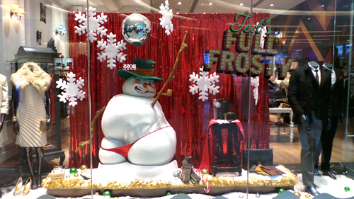 Ted Baker window display at Westfield, Santa with a g string