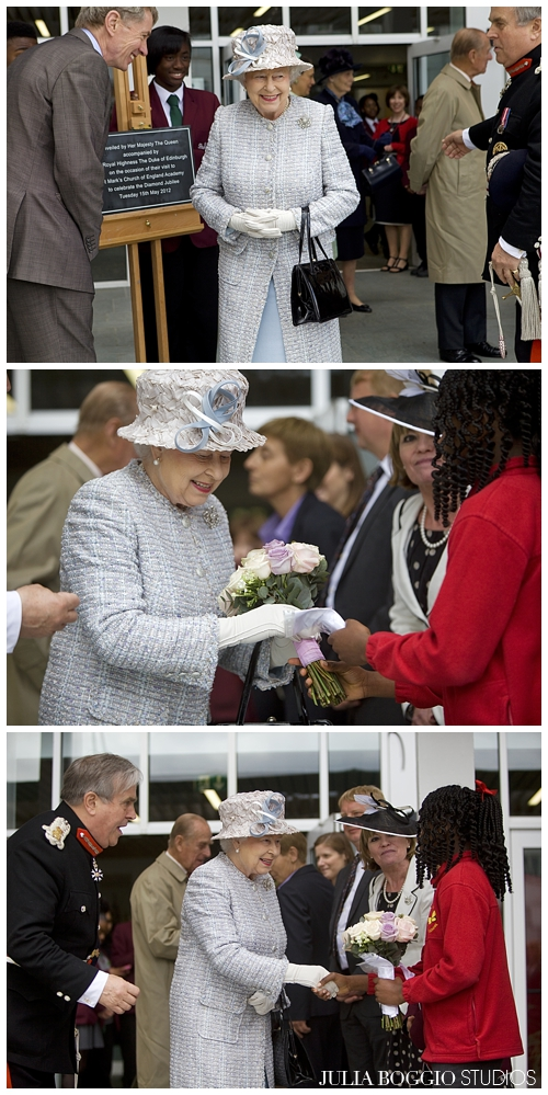 A student from St Marks Academy presents the Queen with flowers as part of her Diamond Jubilee by Julia Boggio
