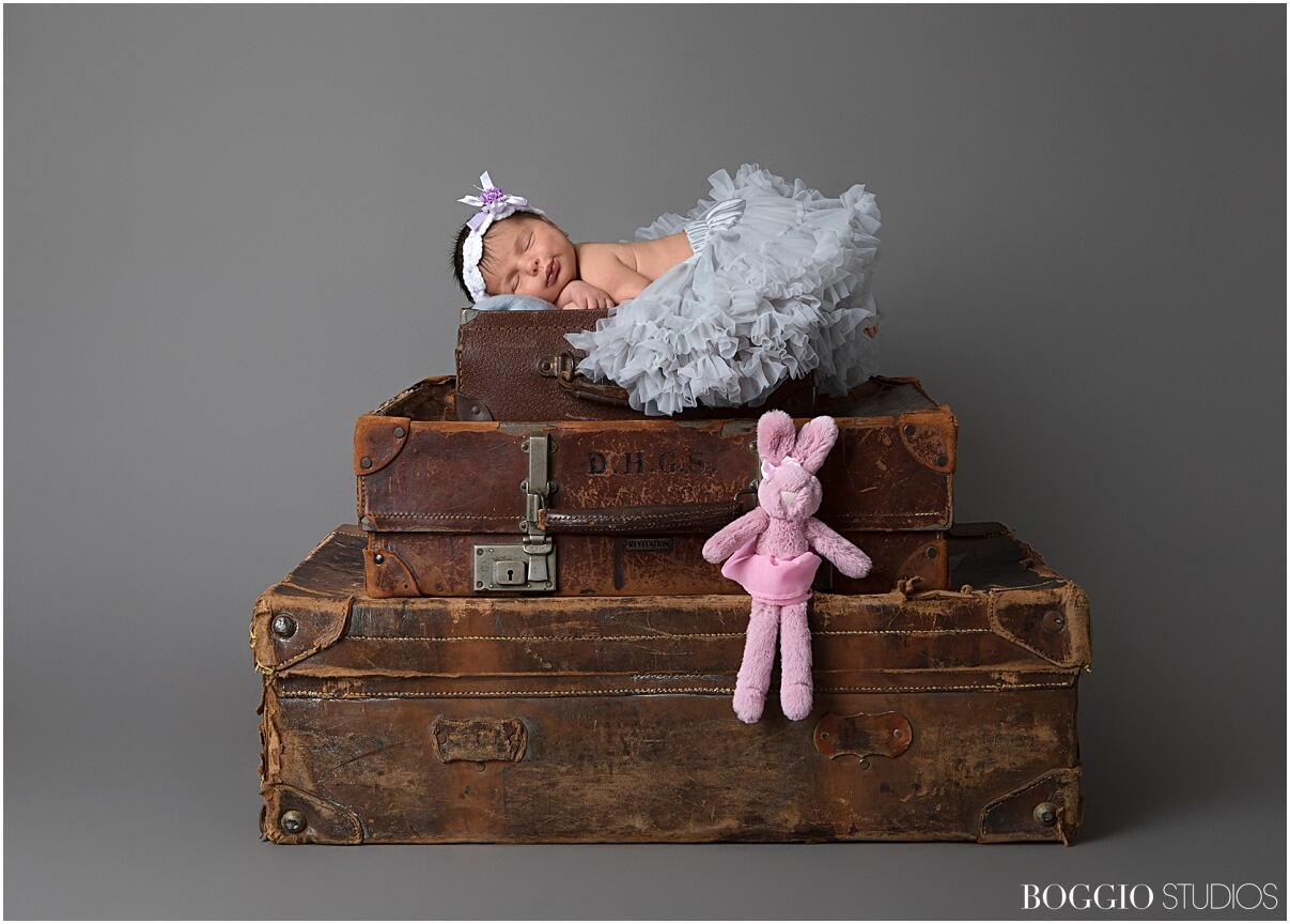 Vintage suitcases for newborn shoot