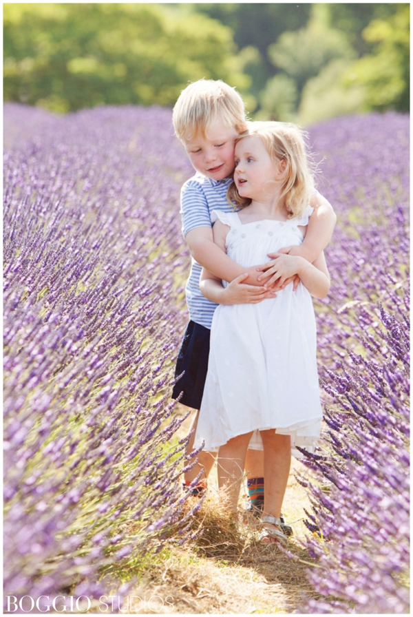 photographing children in a lavender field