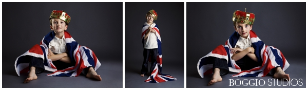 young boy dressed in union jack flag and crown