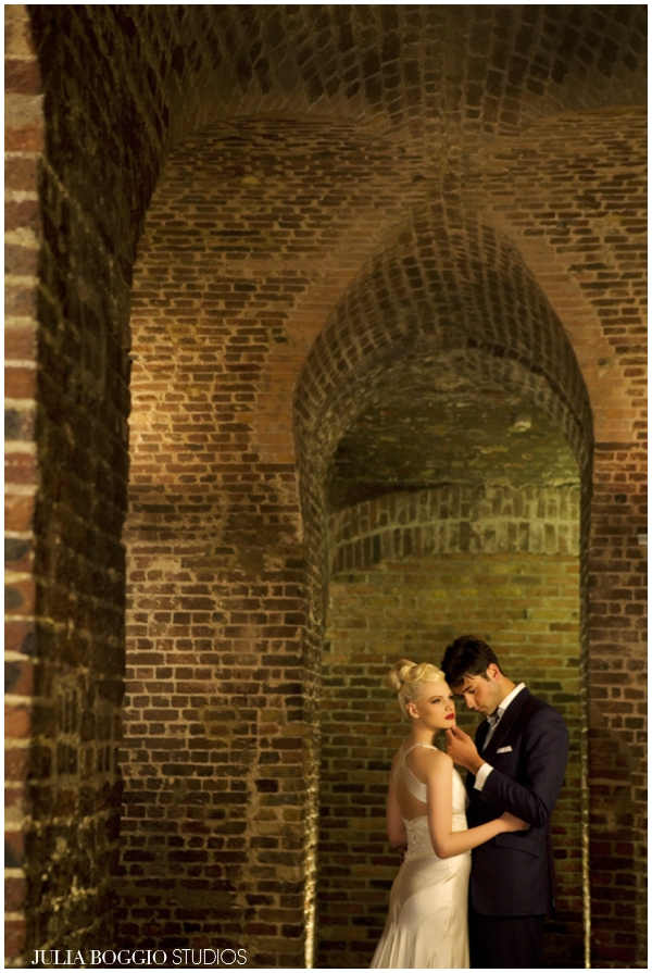 Bride and groom in vaults at RSA House, wedding photography by Julia Boggio
