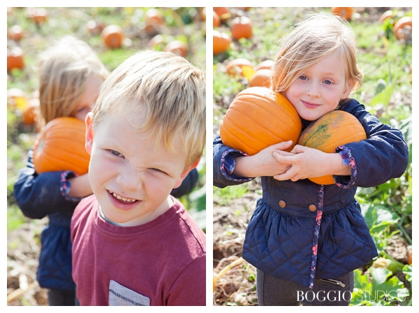 boy and girl in pumpkin patch, age 5